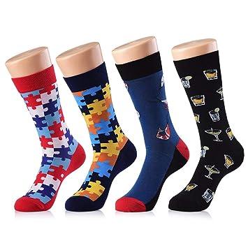 Yuccer Calcetines de Colores Hombre, 4 Pares Stripe Algodón Calcetines Hombre Divertidos Transpirable: Amazon.es: Deportes y aire libre