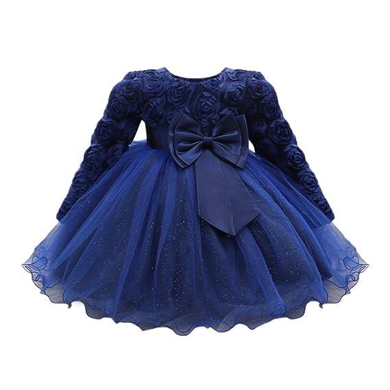 766297e75 Vestido Bebé Niñas, ❤️ Modaworld Vestidos de Fiesta de Boda de Princesa de  Manga Larga para bebé niña Vestido de cumpleaños Bebés niña ...