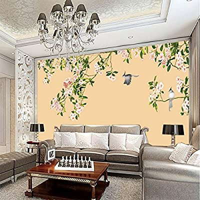 XLi-You 3D TV background wall paper new Chinese hd background wall painting flowers and birds