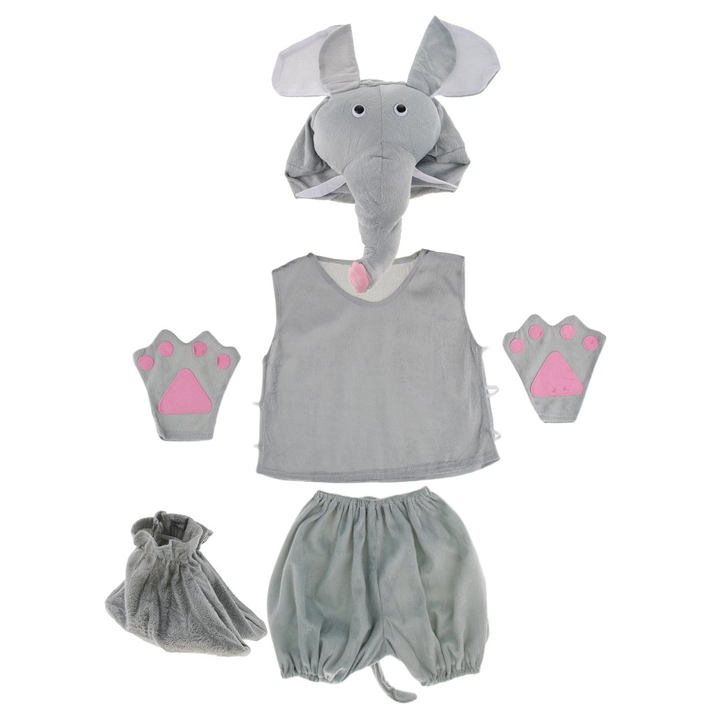 Prettyia Kids Animal Costume Set Giraffe Frog Cow Rabbit Bee Hat Top Shorts Gloves Shoes Party Halloween Dress up Unisex Outfit - Elephant