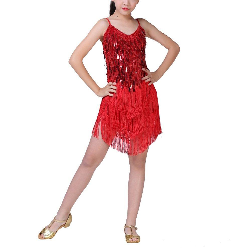 Loveble Kids Girls Sequin Latin Dance Dress Latin Tango Salsa Tassel Skirt Latin Costume