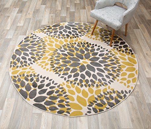Rugshop Modern Floral Circles Design Round Area Rug, 6' 6