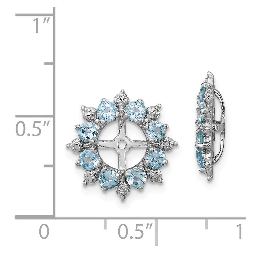 Mia Diamonds 925 Sterling Silver 15mm x 15mm Diamond and Swiss Blue Topaz Earring Jacket .007cttw