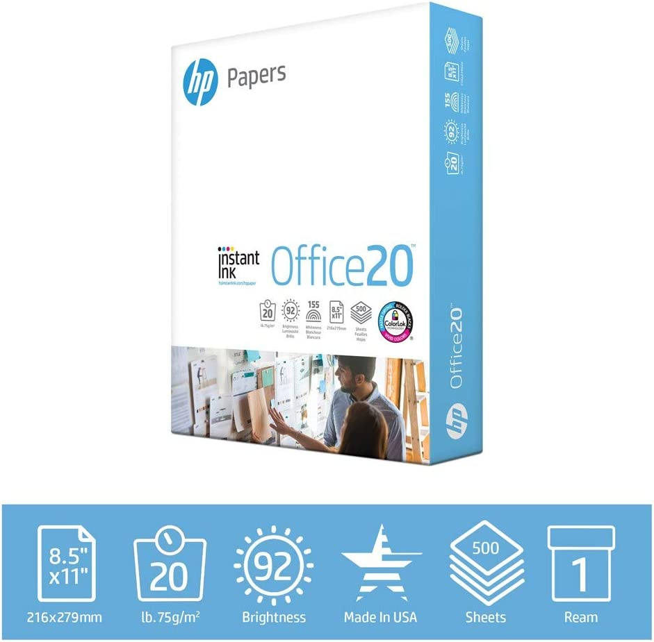 HP Printer Paper Office 20lb, 8.5x 11, 1 Ream, 500 Sheets, Made in USA From Forest Stewardship Council FSC Certified Resources, 92 Bright, Acid Free, Engineered for HP Compatibility, 112150R