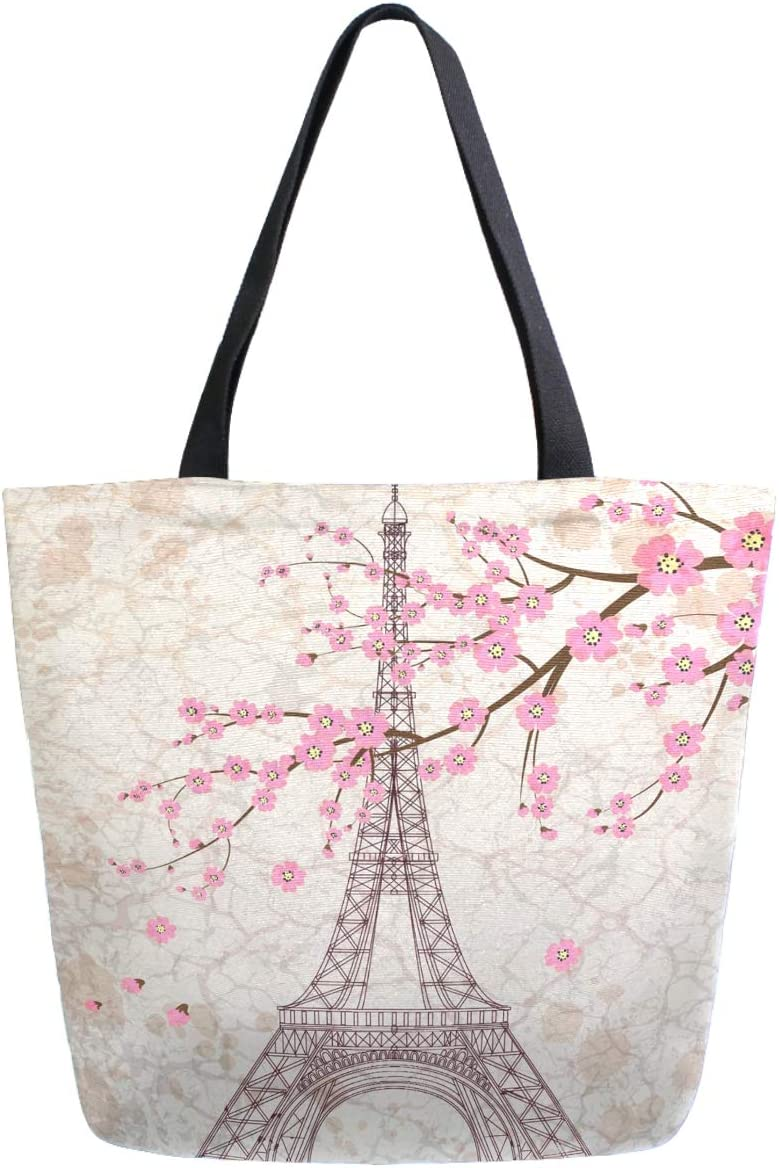 ZzWwR Chic Romantic Paris Eiffel Tower Cherry Blossoms Extra Large Canvas Beach Travel Reusable Grocery Shopping Tote Bag Portable Storage HandBag
