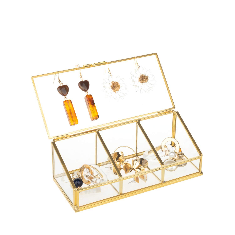 Feyarl Bo/îte /à bijoux or en verre /à bascule anneaux boucles d/'oreilles piercings collier bo/îte transparente d/écorative bo/îte pr/ésentoir /à maquillage