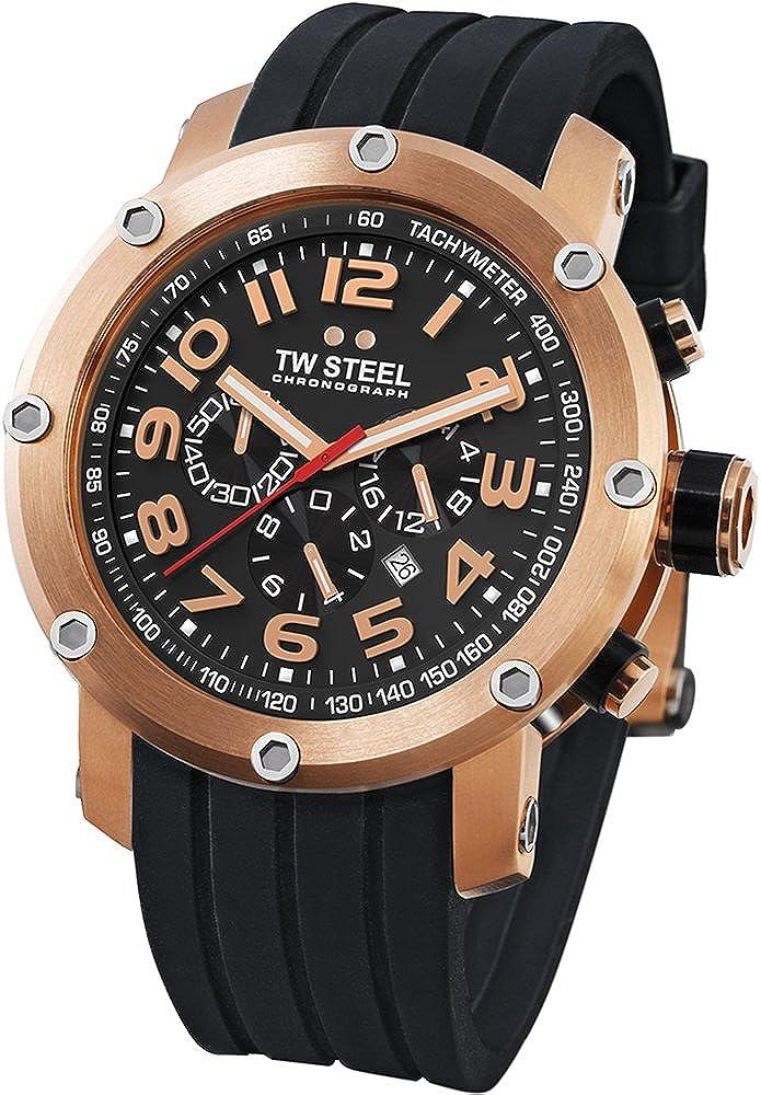 TW Steel Men s TW131 Grandeur Tech Black Rubber Chronograph Dial Watch