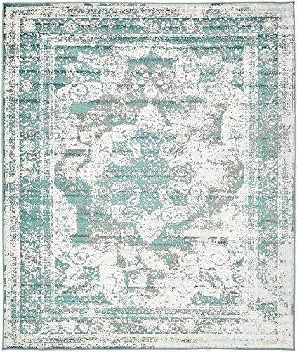 Traditional Persian Vintage Design Rug Gray Rug Turquoise 8' x 10' FT (305cm x 244cm) Runner Sofia Area Rug Inspired Overdyed Distressed Fancy