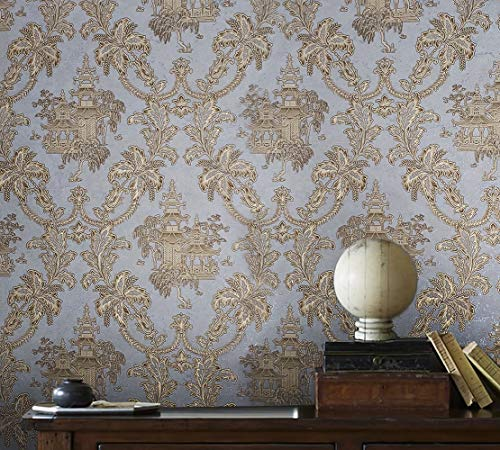 113 sq.ft Rolls Slavyanski wallcoverings Oriental Scenic Asian Pattern Vinyl Non-Woven Wallpaper Silver Pastel Gray Metallic Textured Floral Gold Brass Damask 3D coverings Paste The Wall only ()