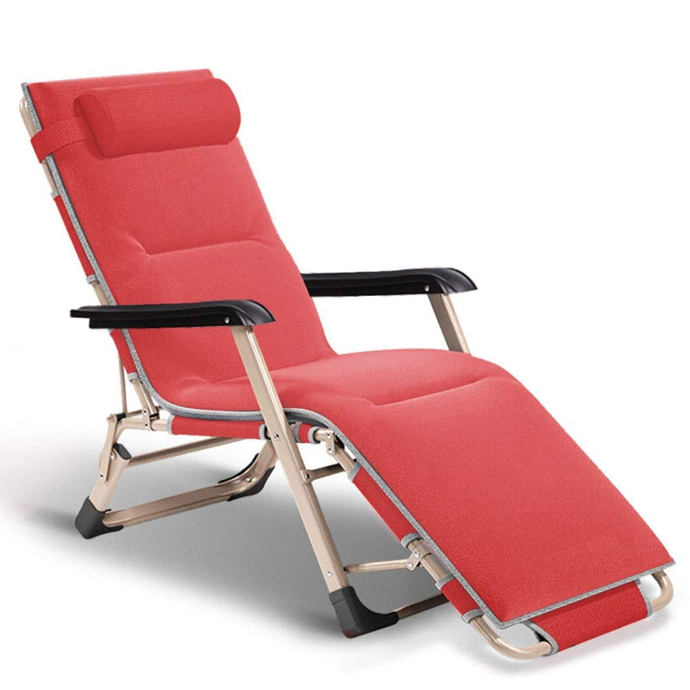 XHLZDY Red Luxury Lounge Chair,Deck Chair Lunch Break Folding Chair, Portable Folding Bed, Office Nap Bed + Detachable Cotton Pad by XHLZDY