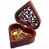 Pursuestar Heart Shaped Vintage Carved Wood Mechanism Windup Music Box Gift for Christmas Birthday Wedding Valentine's Day - Love Story
