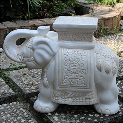 (International Caravan VHO16A-C-LG-WW-IC Furniture Piece Large Porcelain Elephant Stool)