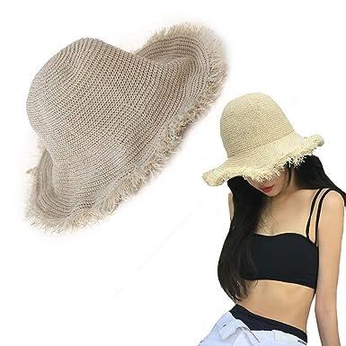 Amycute Sombrero de Paja Fleco Verano, Plegable Sombrero de Playa ...