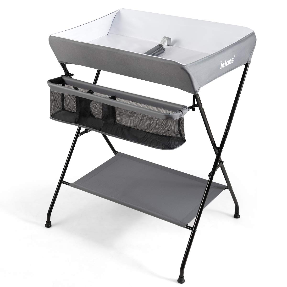 INFANS Baby Diaper Table, Portable Infant Changing Station with Safety Belt, Large Storage Basket Shelf, Easy to Clean Waterproof Surface, Non Slip Foot Covers, Foldable Nursery Organizer Grey