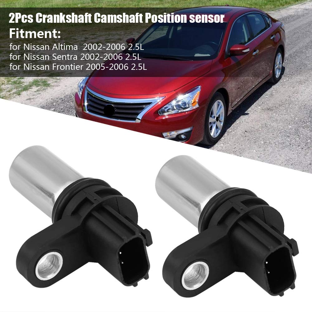 Cuque 237316N21A 2Pcs Camshaft Position Sensor for Nissan Altima Sentra Frontier 2.5L 2002-2006 PC464S SU6364 23731-6N21A Plastic Metal Black Special