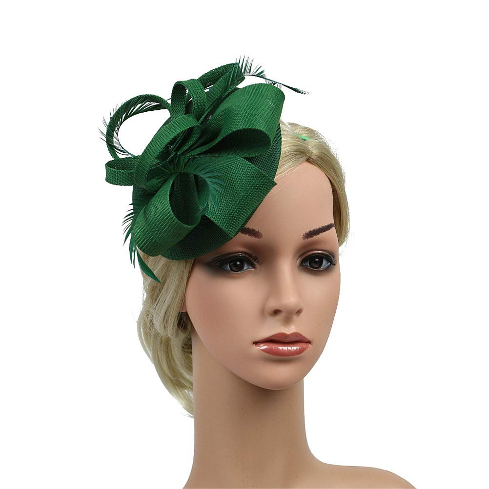Fenical Sinamay Imitation linen Feather Fascinators Hat Vintage Pillbox Flower Derby Hat for Women Headwear for Cocktail Party Ball Wedding Church Tea Party (Dark Green)