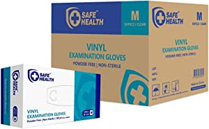 SafeHealth - Clear Vinyl Exam Gloves, Case of 1000, 3 Mil, Medium, MEDICAL GRADE, Powder/Latex-Free, Disposable, Law Enforcement, Food, Pet Care, Cleaning, General Use