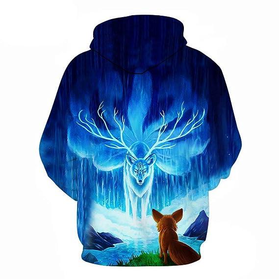 Amazon.com: 3D Print Animal Fox Galaxy Space Lighting Jacket Hoodies Men Women Hip Hop Sweatshirt Hipster Black Coat Clothes: Clothing