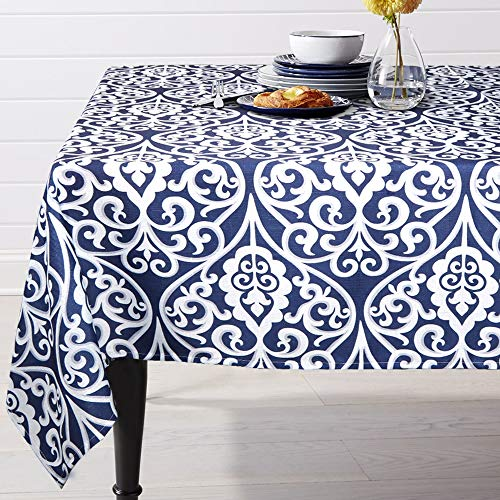 (ColorBird Navy Damask Pattern Tablecloth Polyester Fabric Table Cover for Kitchen Dinning Tabletop Linen Decoration (Rectangle/Oblong, 60 x 84 Inch, Blue))