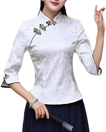 Camisetas de Seguridad Estilo Chino, Informales, con Cuello Alto, Manga Larga, para Mujer 1 S: Amazon.es: Ropa y accesorios