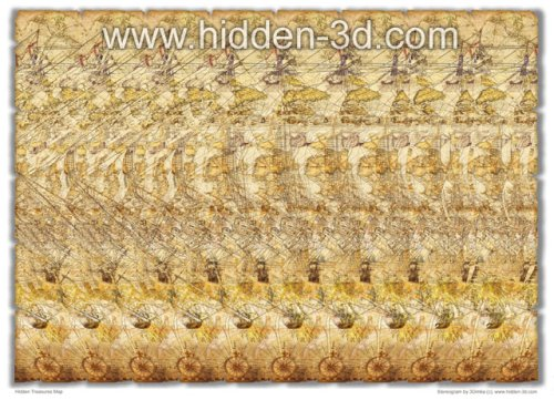 Hidden Treasures Map Stereogram Poster