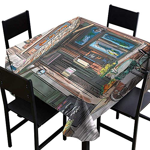 haommhome Oil-Proof and Leak-Proof Tablecloth City Street Paris Cafe Eating Easy to Clean W63 xL63 Washable Polyester - Great for Buffet Table, Parties, Holiday Dinner, Wedding & More