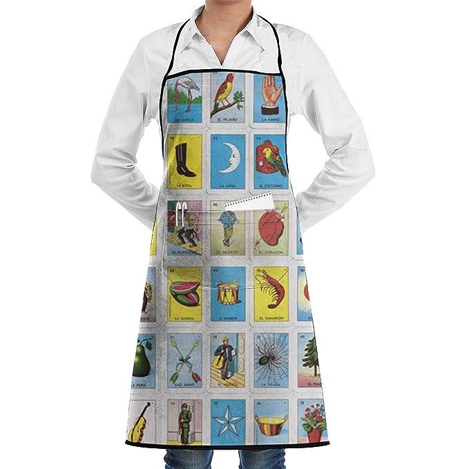 Coloridas tarjetas de lotería mexicana Delantal de chef de cocina ...
