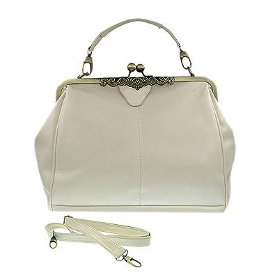 f55247200871 Vintage Style Kiss Lock PU Leather Fashionable Handle Shoulder Bag (White)
