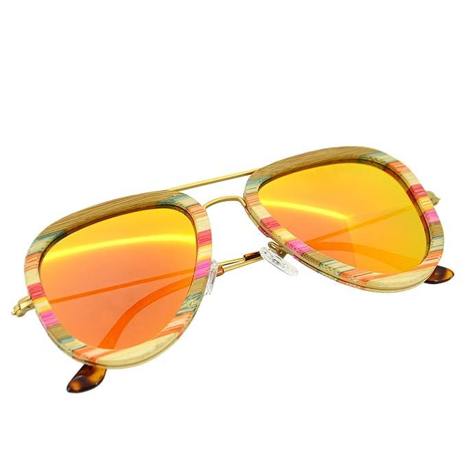 Bedate Gafas de sol unisex de marco de madera natural y ...