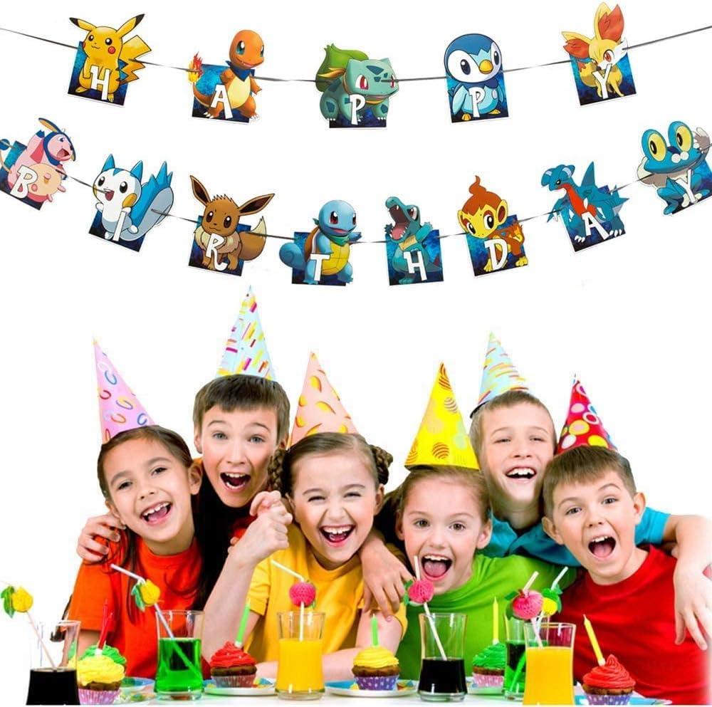 Pikachu Little Fire dragonBanner for kids Boy Party Decoration,Pokemon Shower Birthday Party Supplies Pokemon Happy Birthday Banner
