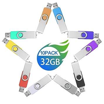 32GB Pendrive 10 Piezas Colores, JUYUKEJI Originales Memoria USB Pen Drive 32 GB Lote 10