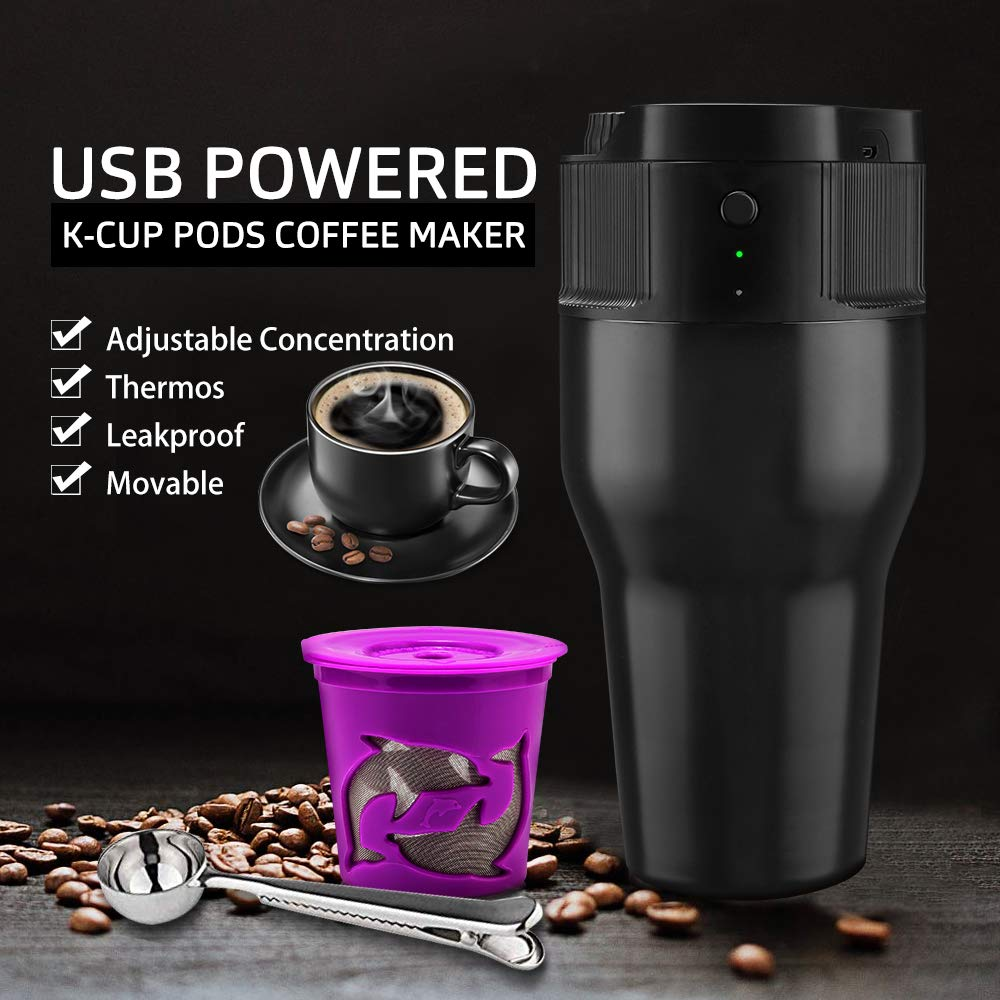 i Cafilas Travel Mini Coffee Maker Portable Espresso Maker Compatible with K pods Automatic Coffee Maker 500ML Stainless Steel Brewer Cup with USB cable by BRBHOM (Image #4)
