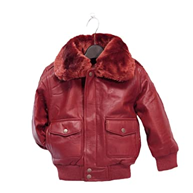 Amazon.com: Childrens Genuine Lambskin Leather Bomber Pilot Jacket ...