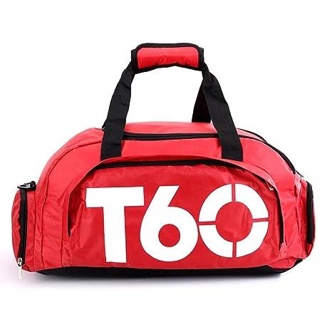 Obling Guirnalda Deportiva de 35 L Unisex de Gran Capacidad para Gimnasio con Compartimento para Zapatos, Color Red with White, tamaño 45 * 25 * 30 CM