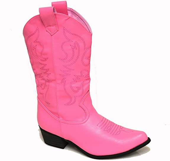 "Women's Calf High Cowboy Western Boots w/ 2"" Heel in Pinks, Browns, Reds, Black (8.5, Medium Pink)"