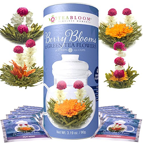 Teabloom Flowering Teas Gift Set Collection - 36 Assorted Blooming Teas in a Variety of Flavors and Flowers - Gift Box includes 3 Unique and Beautiful Flowering Tea Canisters - Makes 750 Cups of Tea by Teabloom (Image #2)