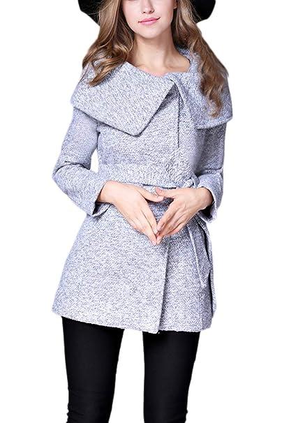 BoBoLily Chaquetas Mujer Elegantes Unicolor Abrigos Primavera Manga Larga Chaqueta Fashion Casual Especial Estilo Hipster Otoño con Cinturón Outerwear ...