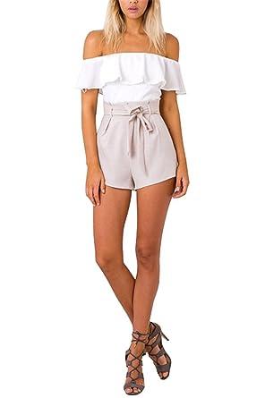 Tomsent Verano Mujeres Sin Tirantes Alta Cintura Mono Sin Mangas Playsuit Splicing Pantalones Corto Jumpsuits Playa: Amazon.es: Ropa y accesorios