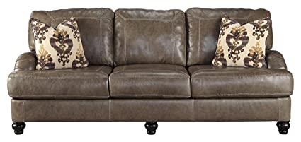 Ashley Furniture Signature Design - Kannerdy Contemporary Faux Leather  Sleeper Sofa - Queen Size - Quarry Brown