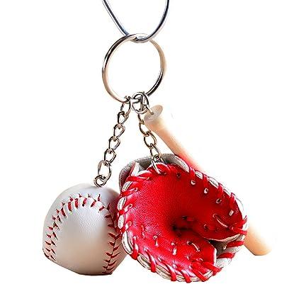 Shangwelluk Mini Guante de Bate de Béisbol Conjunto Llavero ...