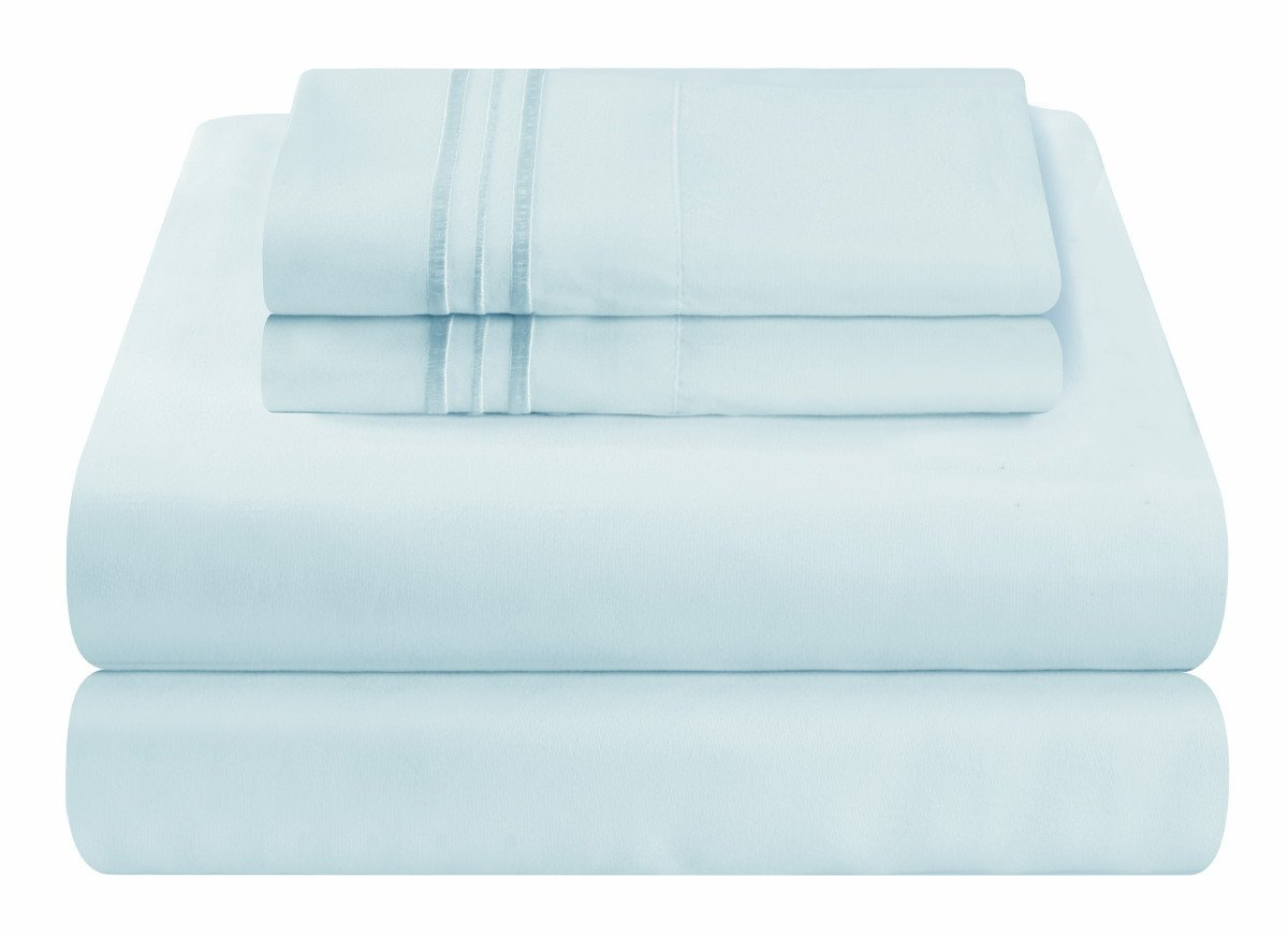 Mezzati Soft and Comfortable Waterbed Sheets Set – 1800 Prestige Brushed Microfiber Collection Bedding (Light Blue, King Unattached)