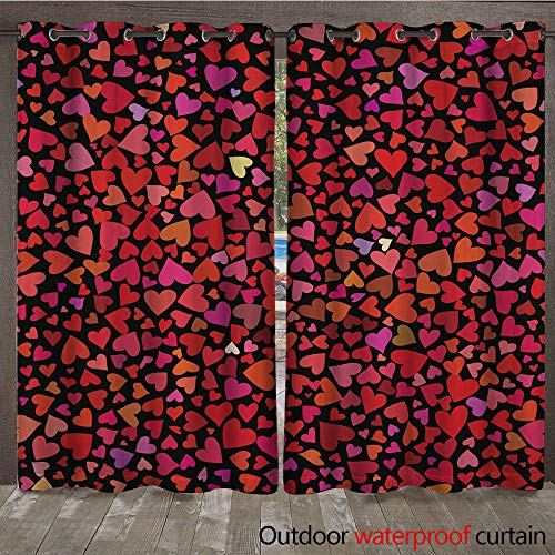 WinfreyDecor Outdoor Balcony Privacy Curtain Seamless Colorful Vector Hearts Pattern Texture for Cover Paper Gift Fabric Textile Ornament for Valentines Day W72 x L108