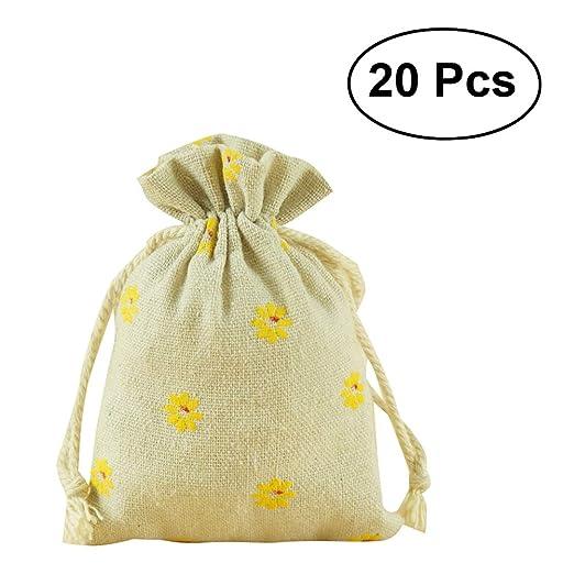 TOPBATHY - 20 Bolsas pequeñas de Lino con cordón para Regalo ...