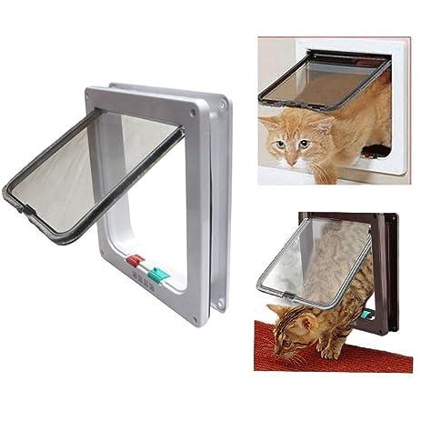 Biowow 4 Ways Locking Cat Door For Interior Doors Large Size 24X23.5X5.5cm
