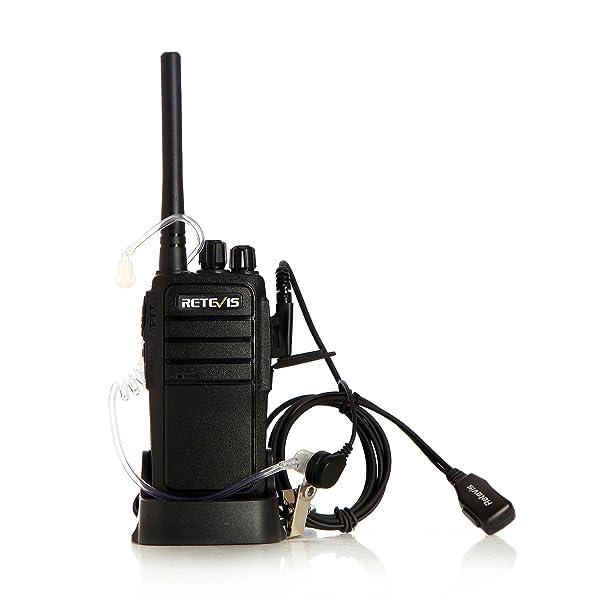 RETEVIS RT21 WALKIE TALKIES 16CH FRS RADIO BIDIRECCIONAL VOX - Scrambler Radios de 2 vías (paquete de 5) con audífono acústico de aire secreto de 2 pines (paquete de 5)