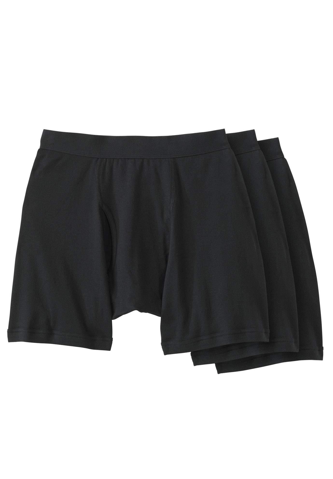 KingSize Men's Big & Tall Cotton Cycle Briefs 3-Pack, Black Big-4Xl