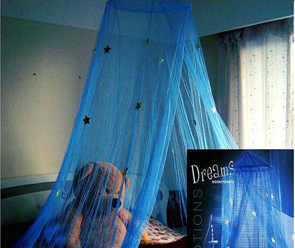 Nattey Comfort Blue Star Lace Mosquito Net Canopy Curtain