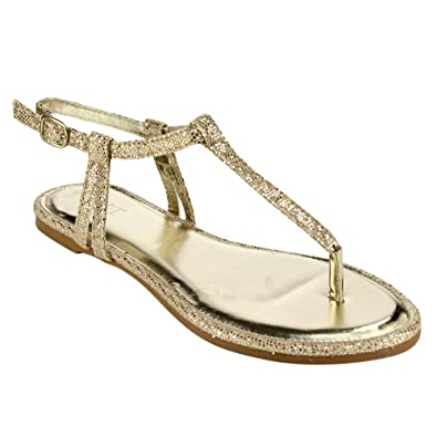 0ca824cb26a8e Mixit Women s Buckle T-strap Glitter Flat Thong Sandals Gold Size 8