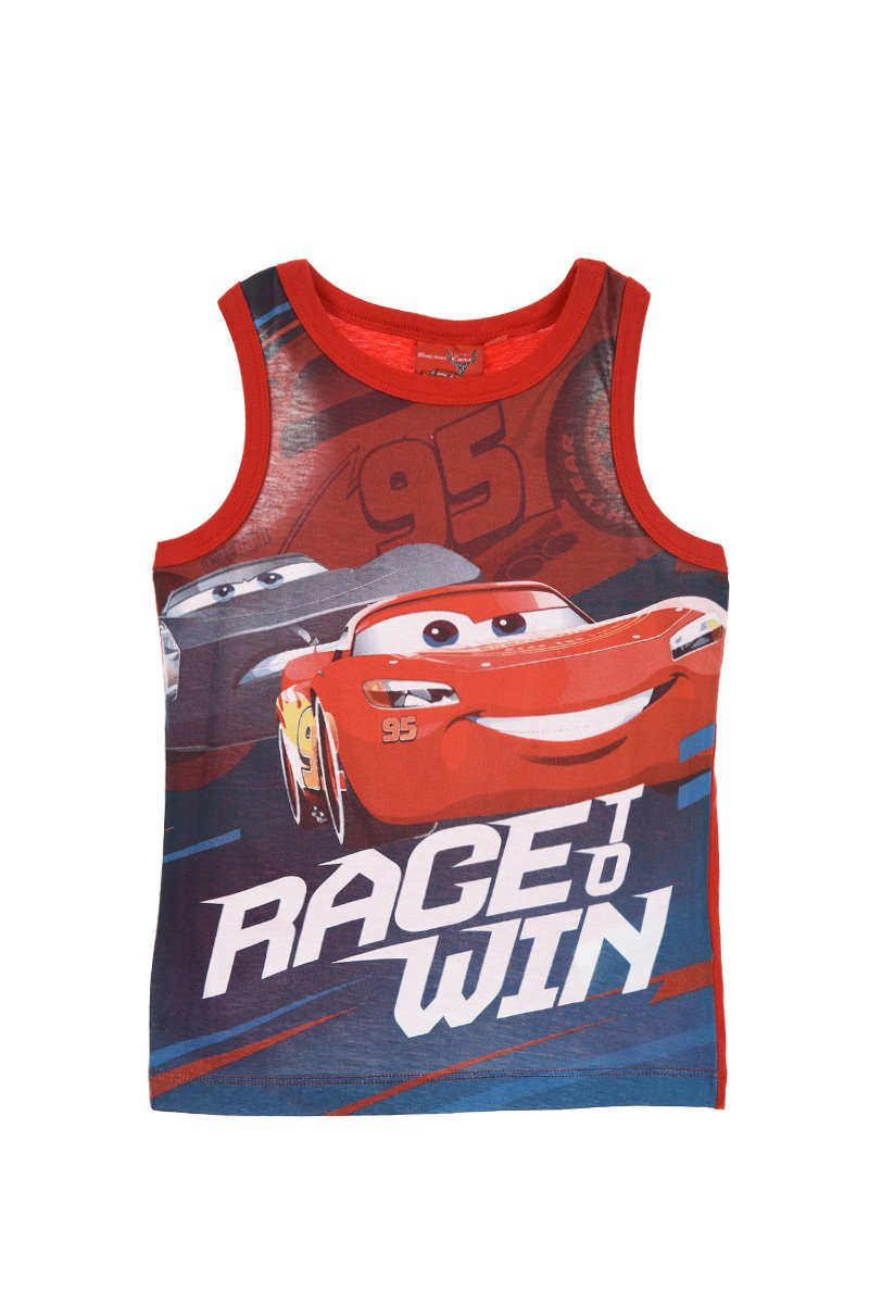 Disney Pixar Cars 3 Official Boys Vest T Shirt Top 100% Cotton, 2-8 Years - New 2018 Collection