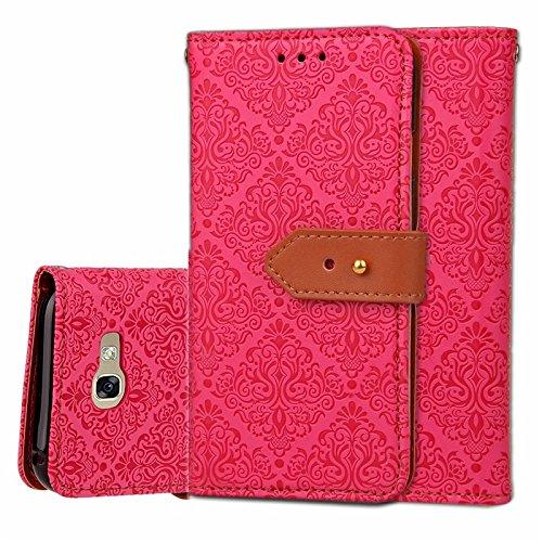 SRY Caja de la carpeta del tirón del cuero de la PU con el soporte y ranura para tarjeta con el cierre magnético para Samsung Galaxy A5 2017 ( Color : Brown ) Rose